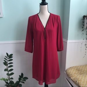 Iz byer red zipper front shift dress M